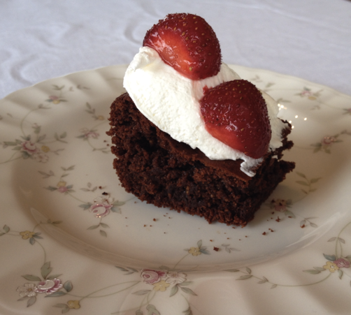 brownie with whipped
