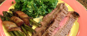 Flank Steak, Avocado Kale Salad and Bacon Wrapped Asparagus